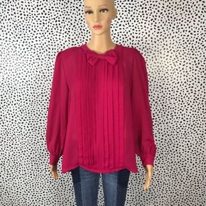 Vintage 1970's pink pleated blouse with bow medium